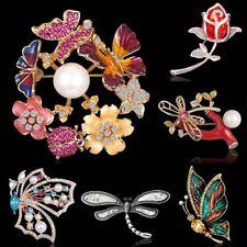 Butterfly Crystal Pearl Brooch Pin Women Costume Wedding Bride Bouquet Jewelry