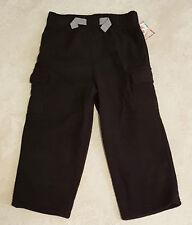 Boys Black Solid Micro Fleece Cargo Pants: 2T