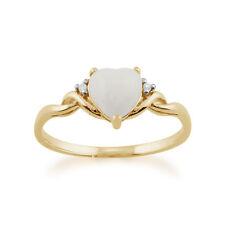 gemondo 9ct ORO GIALLO 0.47ct OPALE & diamante a cuore anello