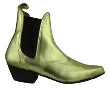 Mens Gold Leather Chesea Beatle Beat Boots Cuban Heel
