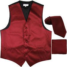New Men's Horizontal Stripes Tuxedo Vest Waistcoat_tie & hankie burgundy prom
