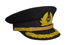 Pilot Cap 1 Row Gold Peak with Generic Cap Badge Black Airline Cap R1836