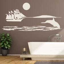 Dolphin Ship Ocean Wall Decal Sticker Scene WS-17848