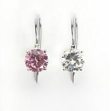 Silver Hook Earrings-Clear/Pink-Natur al 8 mm Round-cut Birthstone Sterling