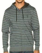 NEW Mens XS BILLABONG Supply Striped Grey Lt Green Zip Front Sweatshirt Hoodie
