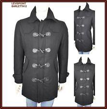 cappotto trench nero di in lana da uomo lungo marinaio slim fit L 48 50 giaccone
