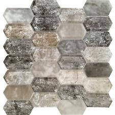 Black Brown Grey Pattern Glass Mosaic Tile Kitchen Shower Wall Backsplash