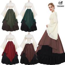 Medieval Women Long Bell Sleeve Queen Gown Wedding Dress Shirt Skirt Set Costume