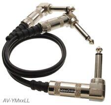 """1/4"""" TS Mono Plug to Dual 1/4"""" TS Mono Plugs Right-Angle Audio Splitter Cable"""