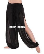 Black Chiffon Slit Harem Yoga Pant Belly Dance Trouser Genie Pantaloon Halloween