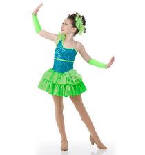 Dancing Dolls GREEN Dance Costume Ruffles Ballet Jazz Tap Dress Adult XX-Large