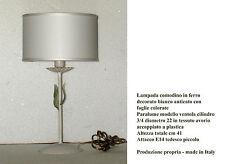 Lumetto lampada da comodino abat jour in ferro decorato - made in Italy