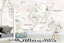 Animal Worldmap Wall Mural Paper Art World Map Sticker Decal Nursery Decor M04