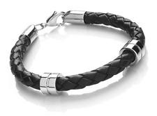 Designer - Tribal Steel - Gents Leather Banded Bracelet - Available in 4 Colours