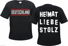 DEUTSCHLAND T-Shirt - HEIMAT / LIEBE / STOLZ - Gr. S bis 3XL - Schwarz-Weiss-Rot
