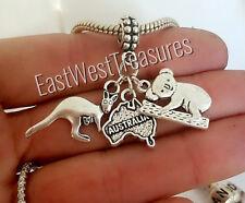 Koala bear, Australian Australia map charm pendant-bracelet necklace