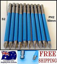 10pcs 90mm Hex Phillips PH2 Magnetic Antislip long impact screwdriver Drill bits