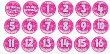 "Jumbo 6"" Pink Holographic Birthday Badge Girls Children Teen Party Decoration"