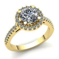 Natural 0,5ct Diamante Talla Redonda Mujer Halo Anillo Solitario de Compromiso