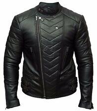 Mens Biker Vintage Motorcycle Black Retro Cafe Racer Leather Jacket
