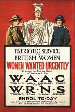 De Colección Guerra Mundial 1 británico WAAC WRNS reclutamiento cartel A3/A2/A1 impresión