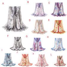 Fashion Women Flowers Printing Long Soft Wrap Scarf Shawl Scarf