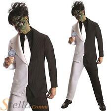 Mens Two Face Batman Villain Harvey Dent Fancy Dress Costume Halloween Outfit