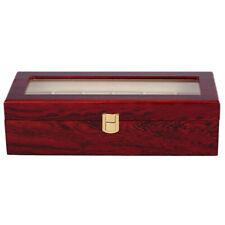 6 Wood Watch Display Case Box Glass Top Jewelry Storage Organizer Gift Men O2N3