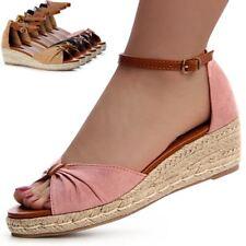 Damen Sandaletten Sandalen Keilabsatz Pumps Riemchen Wedges Sommerschuhe