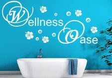 Aufkleber Bad Wandtattoo Wellness Oase Hibiskus Kreise Blumen Badezimmer tx081