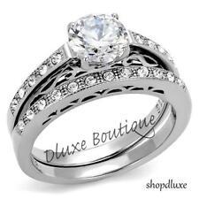 1.50 CT ROUND CUT CZ STAINLESS STEEL VINTAGE WEDDING RING SET WOMEN'S SIZE 5-11