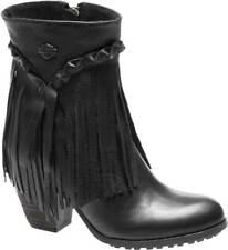 Harley-Davidson Women's Retta Black or Tan 6-Inch Stacked Heel Booties, D83985