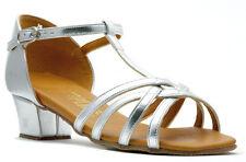 Girls Silver Or White Cuban Ballroom Social Dance Shoes By Topline ROSIE T-BAR