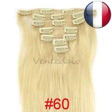 EXTENSIONS DE CHEVEUX A CLIPS 100% NATURELS REMY HAIR 53CM BLOND PLATINE #60
