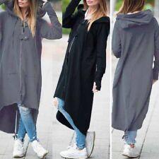 ZANZEA Damen Hooded Kapuze Langarm Zipper Asymmetrisch Long Jacke Mantel Coat