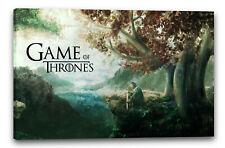 Lein-Wand-Bild: Game of Thrones Stark mit Schwert in Fantasy-Wald-Landschaft