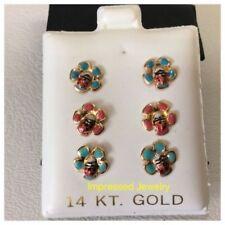 14K-Solid-Yellow-Gold-Enamel-Flower-LADYBUG -Screwback-Stud-children-Earrings