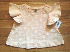 NWT Girl's Old Navy Peach Ruffle Sleeve Shirt w/Flowers-Size 0-3 thru 6-12 Month