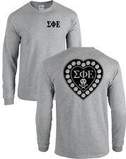 Sigma Phi Epsilon Fraternity Badge Long Sleeve SigEp Heart Shirt - MANY COLORS