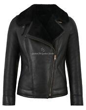 Women B3 Sheepskin Jacket RAF Black Fur Real Shearling Bomber Winter Jacket NV64