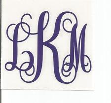 Monogram vinyl custom decal for yeti, cup, laptop or car Script/Vine font