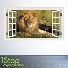 Adesivo Parete LEONE finestra Full Colour-Camera da letto salotto Tigre w131