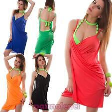 Copricostume donna moda mare miniabito incrocio fluo portafoglio nuovo 0101