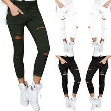 Mujer Skinny Pitillo Rotos Pantalones cintura alta elástico Lápiz Estrecho