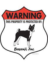 """Warning! Basenji - Property Protected Aluminum Dog Sign - 7"""" x 8"""" (Badge)"""