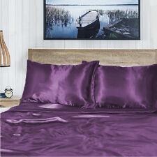 1000TC Silk Silky Feel Single/KS/Double/Queen/King Fitted, Flat Sheet Set-Purple