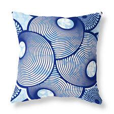 Modern Circle Pattern Zip FILLED CUSHION Blue Designer