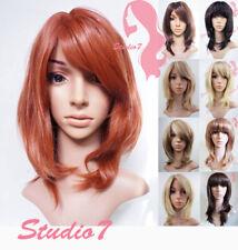 Shoulder Length Long Bob Auburn Brown Blonde Synthetic Wig Studio7-UK
