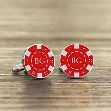 Personalizzato iniziali argento placcato Poker Chip Gemelli