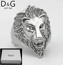 DG Men's Silver.Stainless Steel CZ Wedding Ring,LION.Head.8,9 10,11,12 13.+ Box